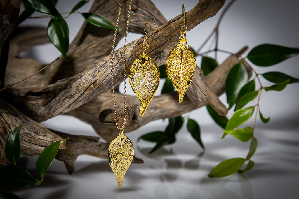 Gold Lilly Pilly Leaf Pendant & Earrings Set