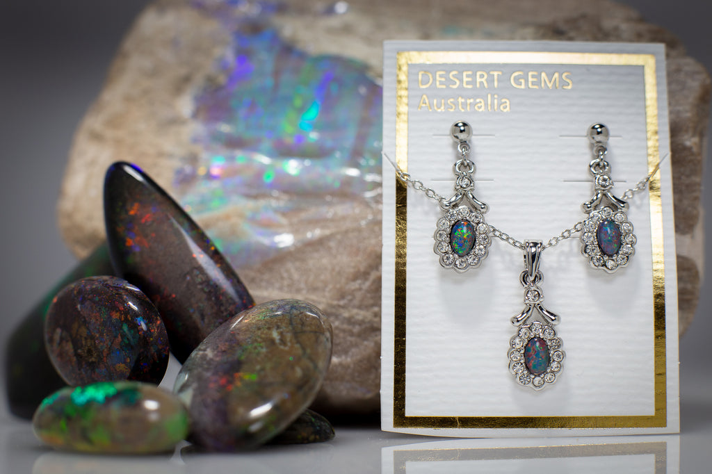 Opal Regal Drop Silver Earrings & Pendant SET