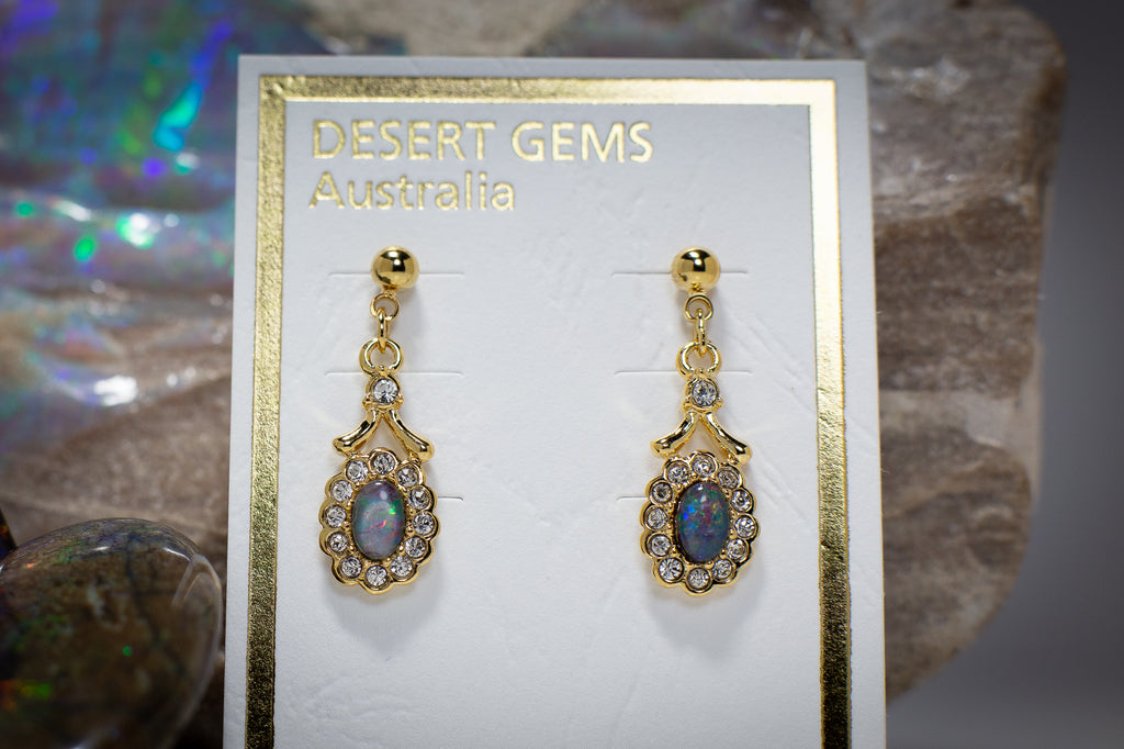 Opal Regal Drop Gold Earrings