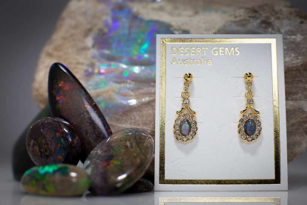 Opal & Zirconia on Apple Gum Eucalyptus Leaf Gold Pendant & Opal Earrings