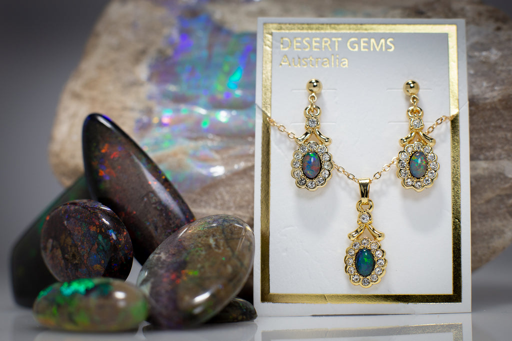 Opal Regal Drop Gold Earrings & Pendant