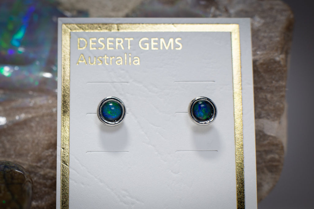 Classic Round Opal Stud Silver Earrings