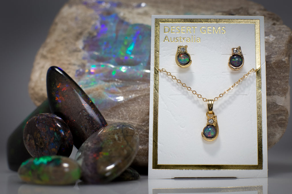 Opal & Zirconia Gold Earrings & Pendant