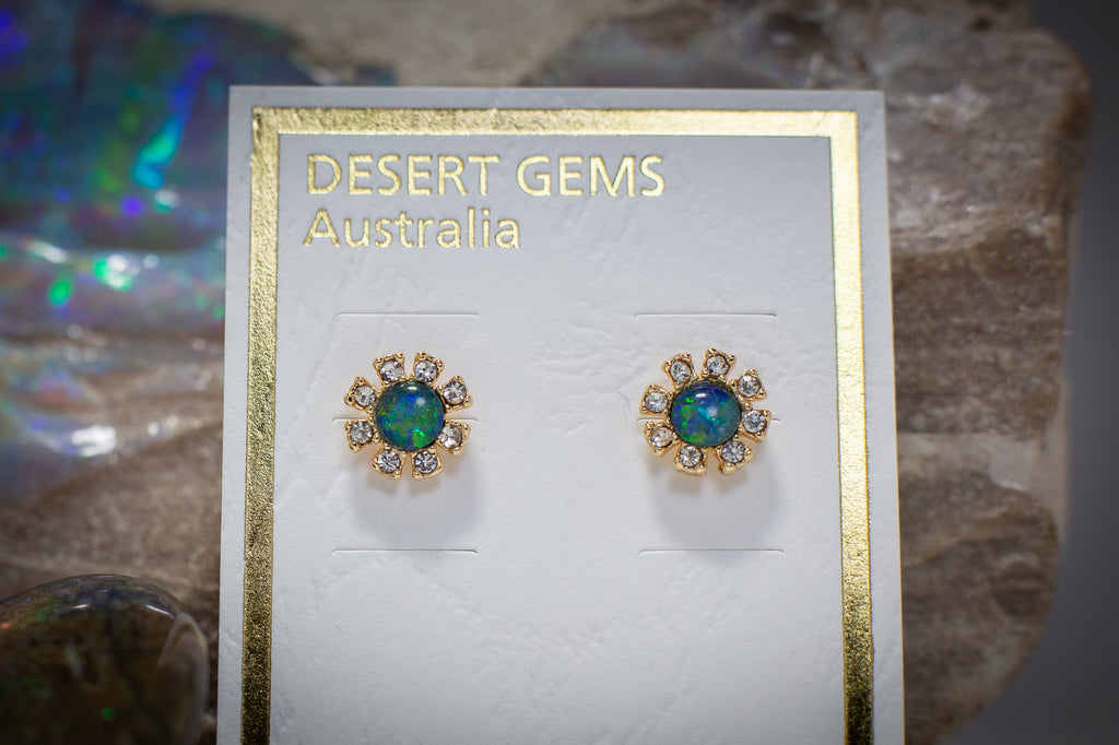 Opal Sparkling Flower Stud Gold Earrings