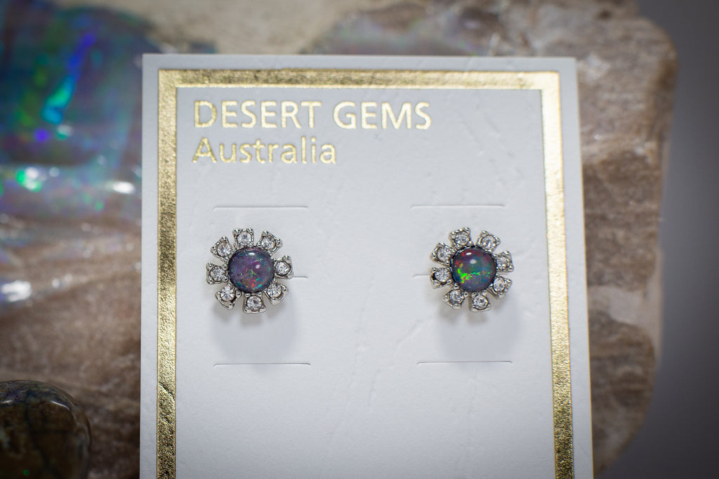 Opal Sparkling Flower Stud Silver Earrings