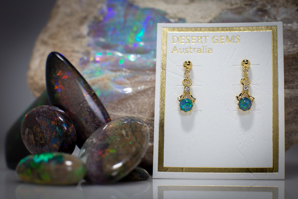 Opal & Zirconia on Eucalyptus Leaf Gold Pendant & Opal Earrings