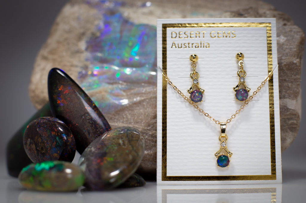 Gold Opal Dainty Drop Earrings & Pendant
