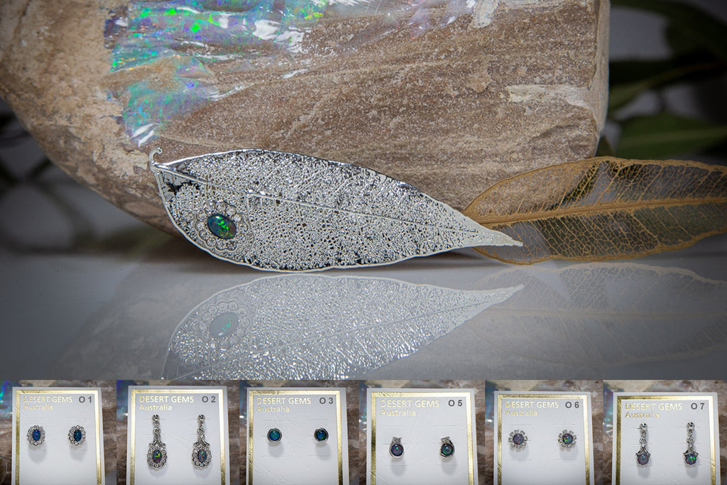 Opal & Zirconia on Silver Red Gum Leaf Brooch & Opal Earrings
