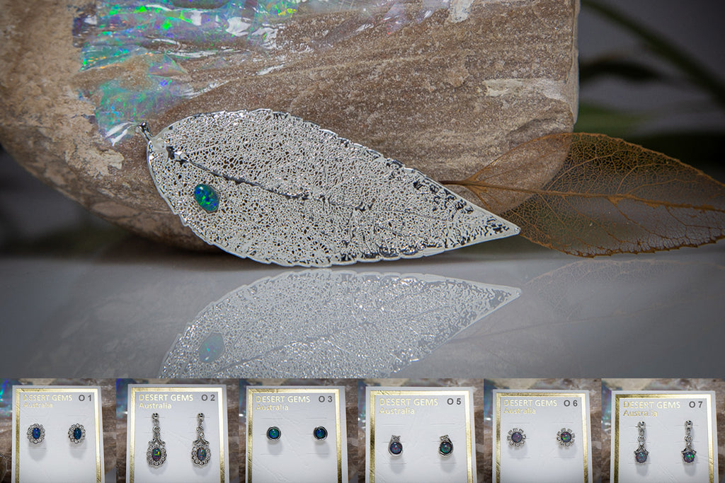 Opal on Eucalyptus Leaf Silver Brooch & Opal Earrings