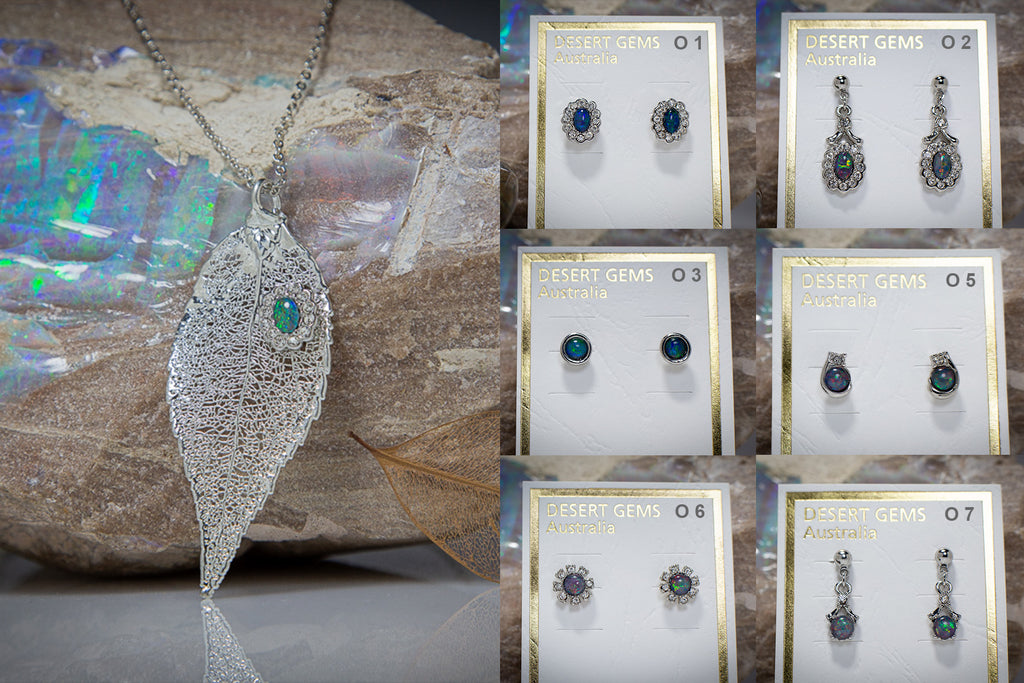 Opal & Zirconia on Eucalyptus Leaf Silver Pendant & Opal Earrings