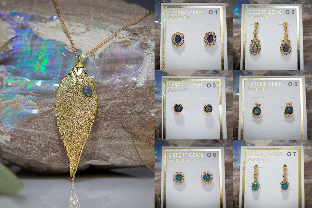 Opal on Eucalyptus Leaf Gold Pendant & Opal Earrings