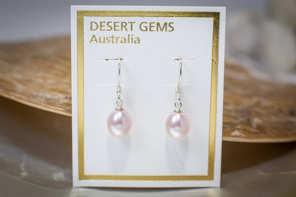 Tear-Drop Pearl Hanging Silver Earrings
