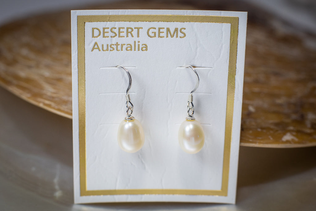 Silver Tear-Drop Pearl Hanging Earrings