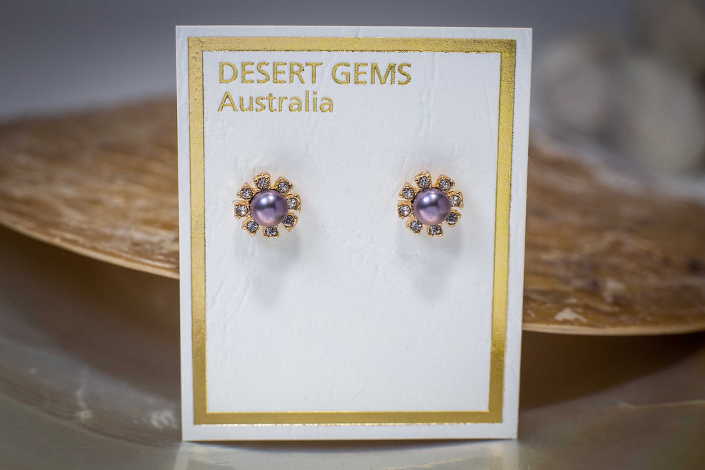 Gold Sparkling Pearl Flower Stud Earrings