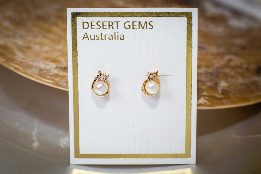 Twinkling Pearl Round Stud Gold Earrings