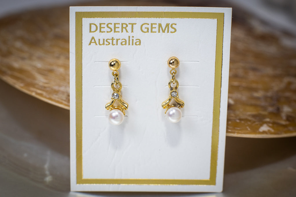 Pearl Drop Twinkling Gold Earrings