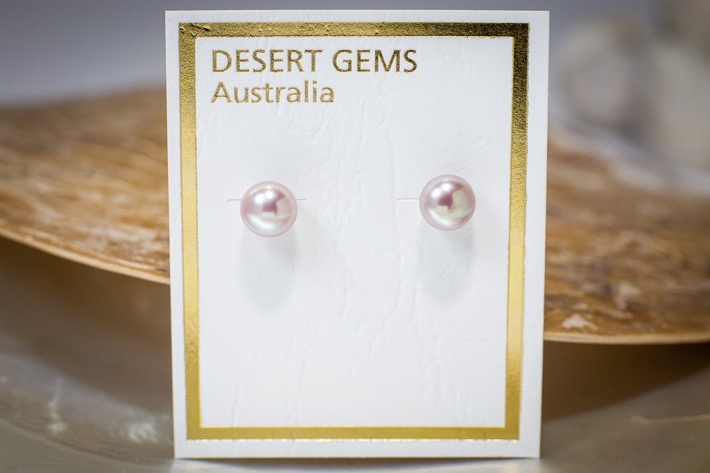 Small Round Pearl Classic Stud Silver Earrings