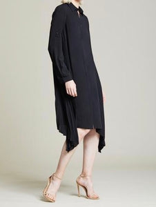 Halston Side Pleated Shirt Dress Black