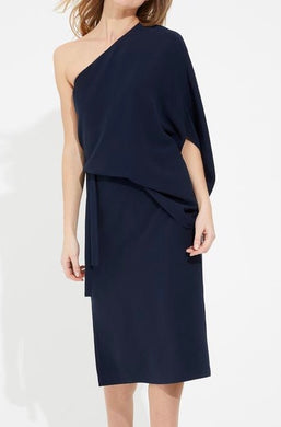 Halston Draped One Shoulder Crepe Dress Dark Navy
