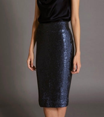 Halston Sequined Skirt Navy