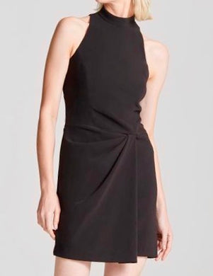Halston Mock Neck Front Dress Black