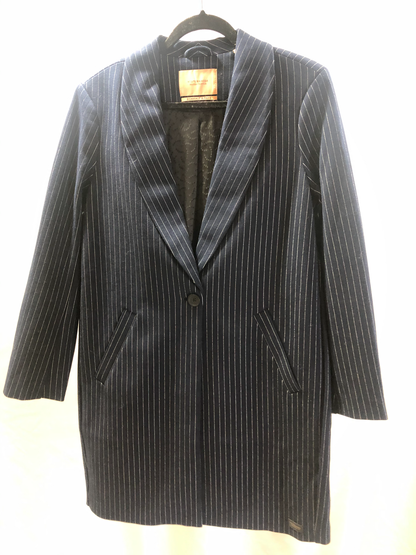 Scotch and Soda Tailored Jersey Pinstrip Coat