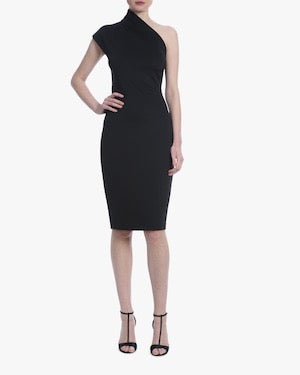 Badgley Mischka One Shoulder Cocktail Black