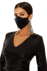 Black Halo Face Mask Sequin