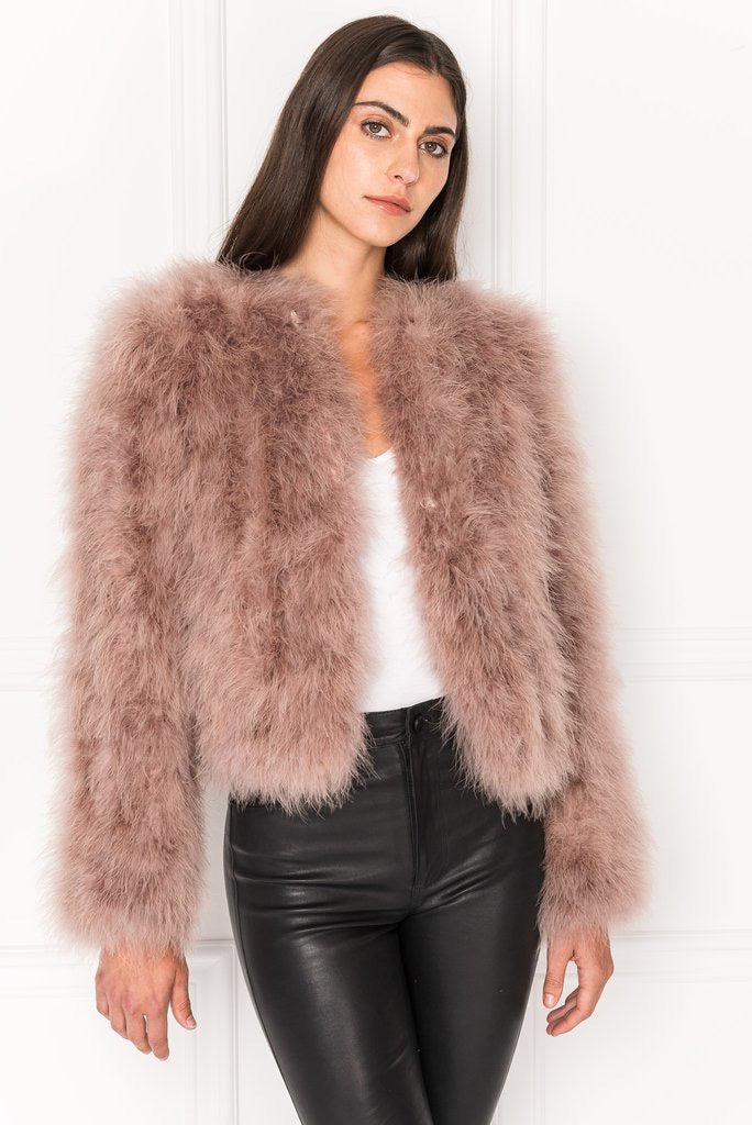 Lamarque Deora Feather Jacket Dusty Rose