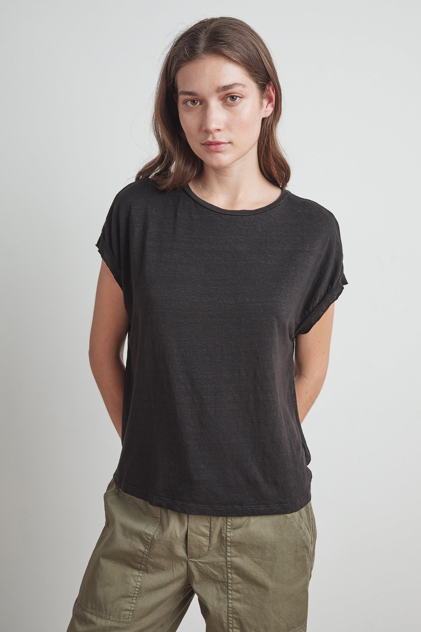 Velvet Hudson Crew Neck Top Black