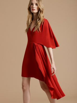 Halston Flowy Short Sleeve Faux Wrap Dress Carmine