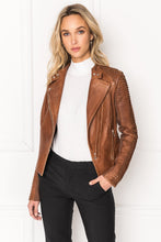 Load image into Gallery viewer, Lamarque Azra Striped Leather Jacket Luggage Brown