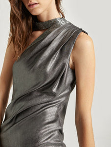 Halston Embellished Neck Dress