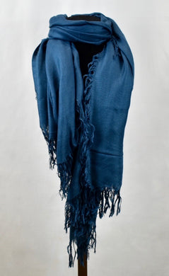 Blue Pacific Tissue Cashmere Solid Scarf