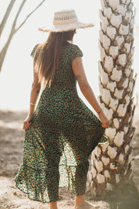 XIX Palms Congo Wrap Dress Cheetah Green