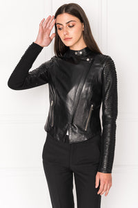 Lamarque Azra Striped Leather Jacket Black
