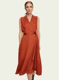 Scotch & Soda Sleeveless Midi Wrap Dress