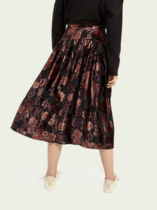 Scotch and Soda High Rise Floral Velvet Midi Skirt