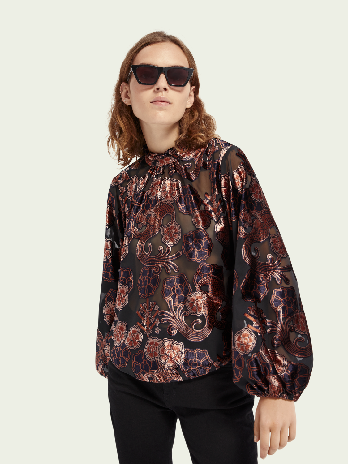 Scotch and Soda Long Sleeve Sheer Floral Velvet Top