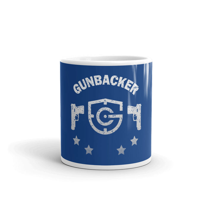 GunBacker Handgun (White) Blue Mug