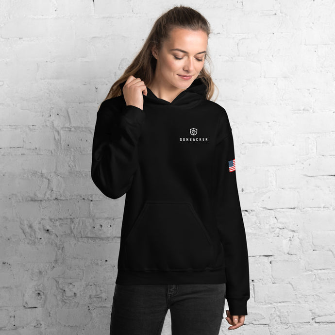 Powered by GunBacker (Black) Unisex Hoodie