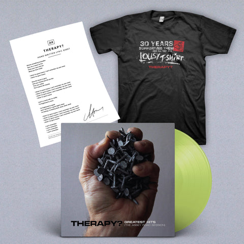 BUNDLE: Signed Translucent Green Vinyl + Lyric Sheet + T-shirt
