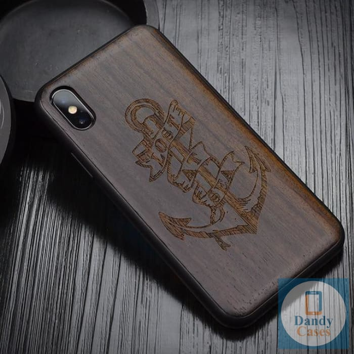 Anchor Dark Ebony Handmade Engraved Wood Phone Case for iPhone X 10