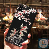 Asian Memories Koi Fish Hand-Painted Embossed Phone Case for iPhone X 8 7 6S Plus XS MAX XR 11 Pro Max
