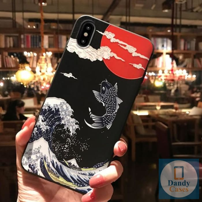 Asian Memories Koi + Wave Hand-Painted Embossed Phone Case for iPhone X 8 7 6S Plus XS MAX XR 11 Pro Max