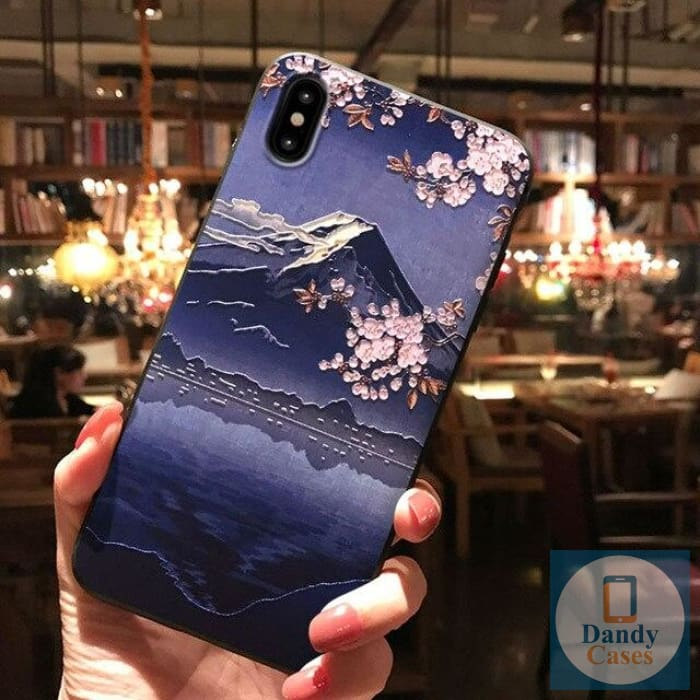 Asian Memories Mount Fuji Hand-Painted Embossed Phone Case for iPhone X 8 7 6S Plus XS MAX XR 11 Pro Max