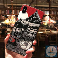 Asian Memories Temple Hand-Painted Embossed Phone Case for iPhone X 8 7 6S Plus XS MAX XR 11 Pro Max