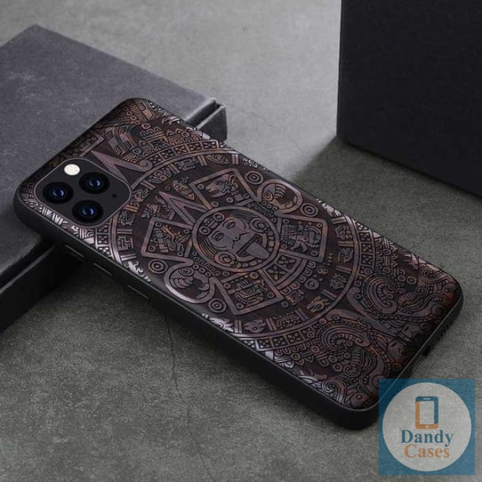 Aztec Calendar Dark Ebony Handmade Engraved Wood Phone Case for iPhone 11 Pro Max - for iPhone 11 / Aztec Calendar