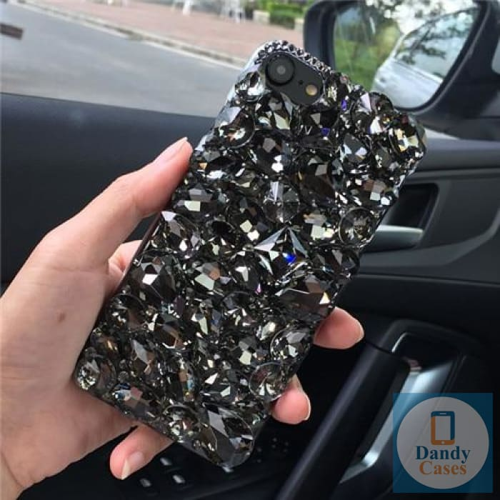 Black Crystal Diamond Case Cover For iPhone 11 Pro Max XS Max XR X 8 7 6S Plus and Samsung Galaxy Note 10 9 8 S10E S10 9 8 Plus