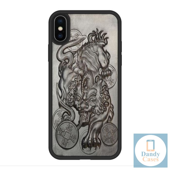 Chimera Handmade Luxury Carved Asian-Themed Ebony Wood Case for iPhone X XR XS Max
